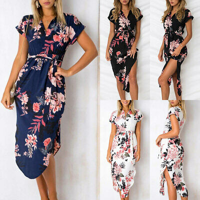new high quality best sell release date: ROBE LONGUE FEMME Été Chic Sexy Fendue Robes Imprimé Florale Tunique Maxi  Plage