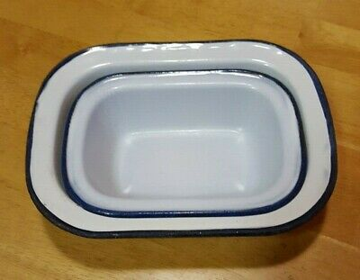 Vintage Enamel Ware White Rectangular Loaf Tins with Blue Rim x 2 Camping Metal