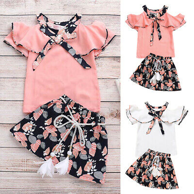 Toddler Kids Girls Floral Print Rufflus Bowknot Tops Shirt Skirts Outfits 2-7Y