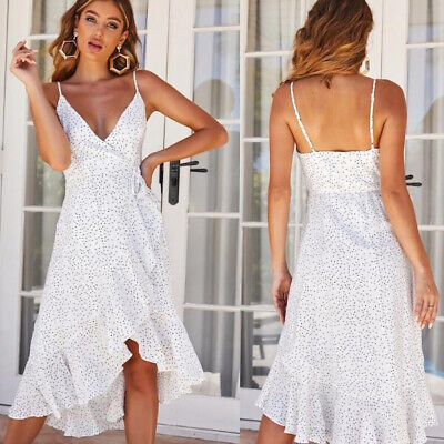 Womens Sleeveless Boho Polka Dot Ruffled Irregular Dress Summer Beach Sundress
