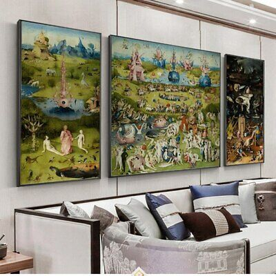 The Garden of Earthly Delights Painting Canvas Print Wall Art Decor (Unframed)