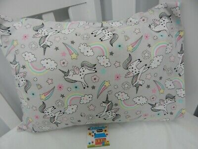 Pillowcase Flannelette Cot Toddler Size Unicorns Rainbows 100% Cotton Snug Warm