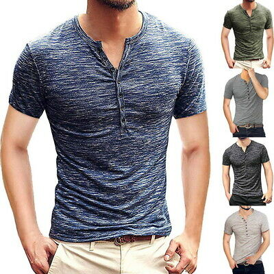 Mens Slim Fit Short Sleeve T Shirt Muscle Tee Casual Blouse Tops Henley Shirts M
