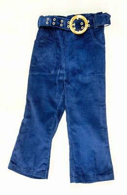 Genuine Vintage Girls Navy 100% Cotton Corded Jeans with Belt by Cuckoo