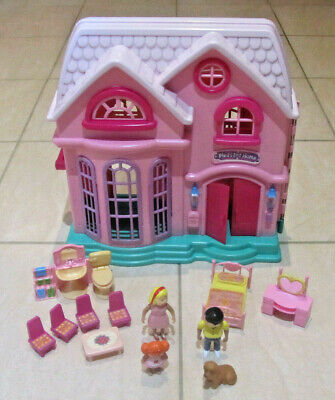 Pleasant Home Fold Up Dolls House Playset w/ Doorbell, Furniture & Doll Figures