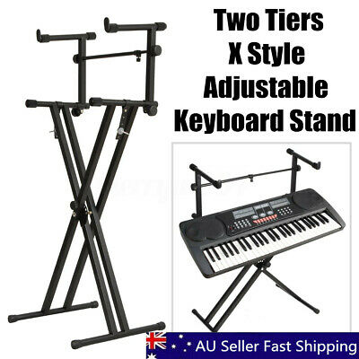 Adjustable Foldable Double Braced Music Keyboard Stand X Type Stool Piano Holder