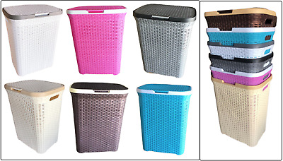 Plastic 65L Laundry Basket Washing Clothes Hamper Linen Storage Rattan Style Box