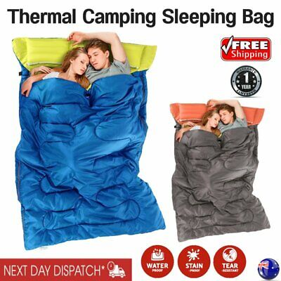 New Double Outdoor Camping Sleeping Bag Bed Twin 2 Two Person Hiking Outdoor AU