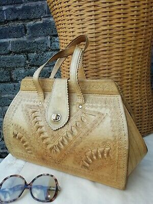 Vtg Lge Original 70s 80s Tooled Genuine Leather Tan Satchel Grab Bag. Super Boho