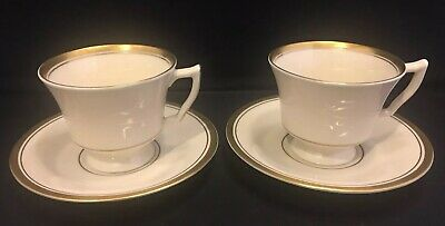 SYRACUSE CHINA Monticello 3 Demitasse Cups 2 Saucers Ivory Porcelain Gold Band