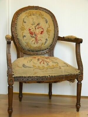 LOUIS XVI Style Upholstered Fauteil en Cabriolet Arm Chair, Early 20th Century