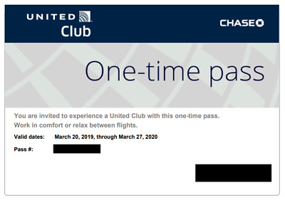 Two (2) Chase United Airlines Club Lounge One Time Passes Expires 03/27/2020