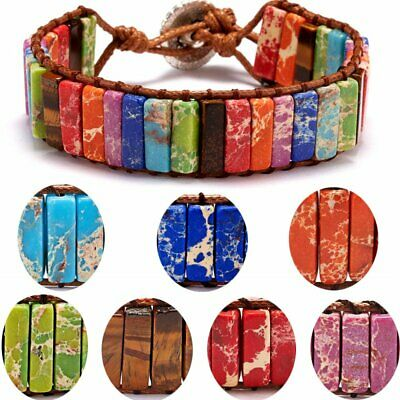 7 Chakra Tube Beads Braided Wrap Bracelet Handmade Natural Stone Women Jewelry