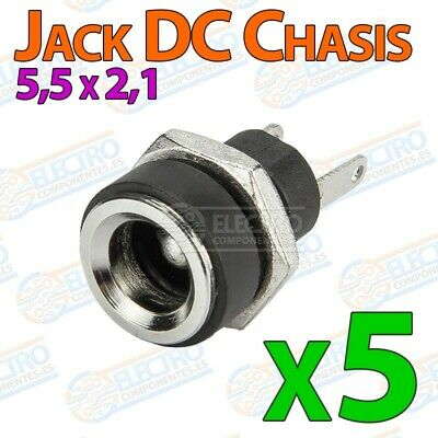 5x Conector DC Jack Hembra Chasis 5,5mm x 2,1mm tuerca alimentacion 5.5 2.1