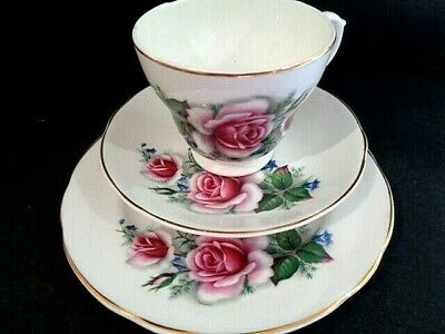Fine Bone China Trio Cup Saucer Tea Plate Set Vintage English Pink Roses