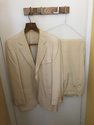 Brioni 1970s Vintage Cream Men's 38 Jacket And Matched Trousers