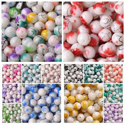 10pcs 10mm/12mm Round Spots Coated Opaque Glass Loose Beads DIY Crafts Findings