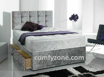 Crush Velvet Divan Bed Base, Cube Headboard, Storage Draws, King Size, Double