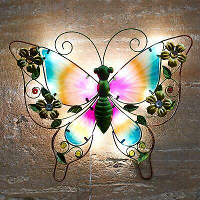 Solar Powered Metal Butterfly LED Light Garden Wall Art Patio Weatherproof Decor