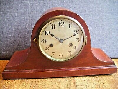 Antique 1920's Napoleon's Hat Oak Gustav Becker Mantel Clock (Key and Pendulum)