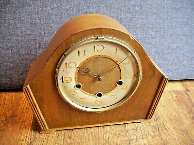 Antique Smiths Oak Westminster Chime Mantel Clock (Pendulum Gilt Detail Silence)