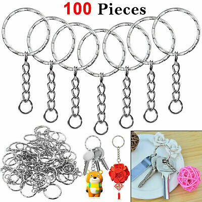 100pcs Silver Keyring Blanks Tone Key chains Key Split Rings 4 Link Chain UK