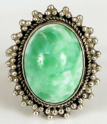 Antique Chinese Export 900 Sterling Silver Beautiful White & Green Jade Ring