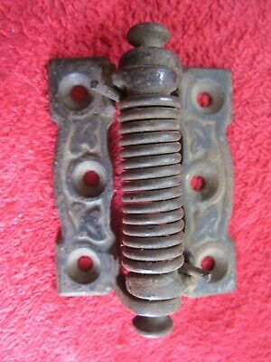 Antique Cast Iron Spring Loaded Self Closing Screen Door Hinge #1