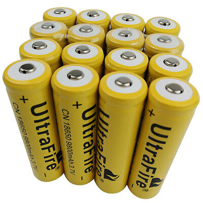 16X 18650 Li-ion Battery 9800mAh 3.7V Rechargeable for Flashlight Torch Light