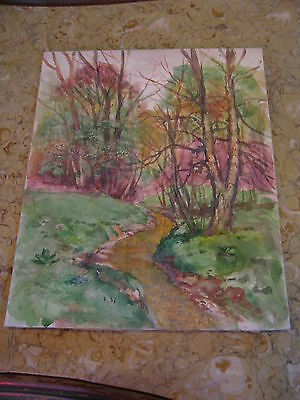 Vtg Antique Early 20th Cent. E A Trego Watercolor Painting & Pastel Landscape