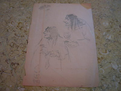 Vintage Antique Early 20th Century Edward Comly Trego Pencil Drawing Old Woman