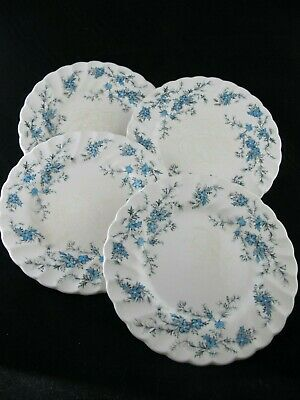 "Myott Staffordshire Ware ""Forget Me Not"" Blue Flowers BREAD PLATES Vintage Set 4"