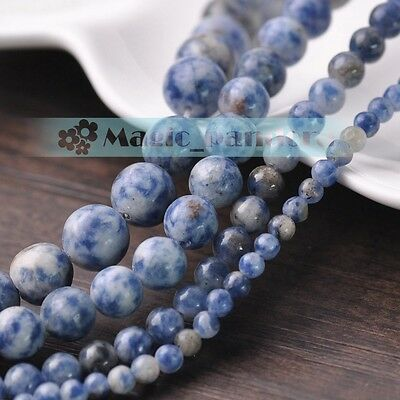 Charms 4/6/8/10mm Gemstone Blue Spots Round Loose Spacer Beads Jewelry Making