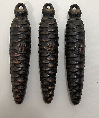Set of 3 Cast Iron Cuckoo Clock Pine Cone Weights 320 ET
