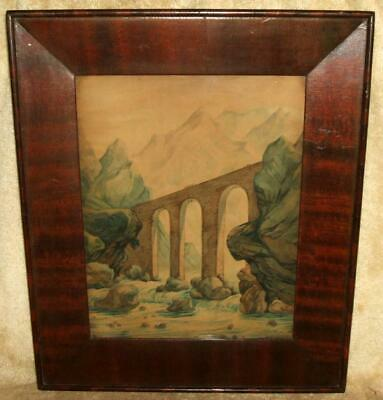 "1820s-40 ""Ogee"" Frame with Watercolor"