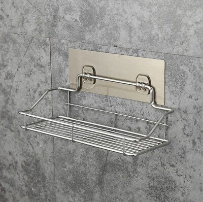 Stainless Steel Shelf Shower Bathroom Wall Mounted Storage Rack Adhesive SFW