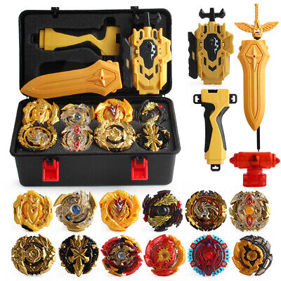 12X  Beyblade Gold Burst Set Spinning With Grip Launcher+Portable Box Case TOP