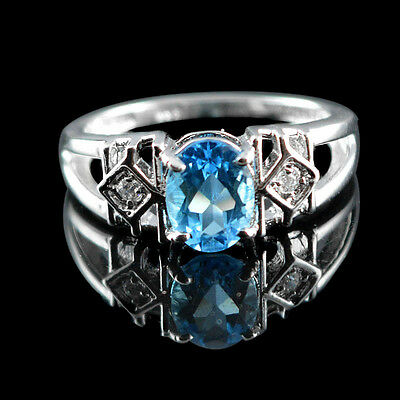 Adorable Natural 6X8 Mm Oval Cut Blue Topaz White-Cz Sterling 925 Silver Ring