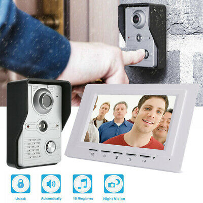 """7"""" TFT Door Intercom Wired Video Phone Bell Security Entry Call System IR Camera"""