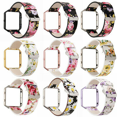 Replacement Leather Wristband Strap Band for Fitbit Blaze Watchband With Frame