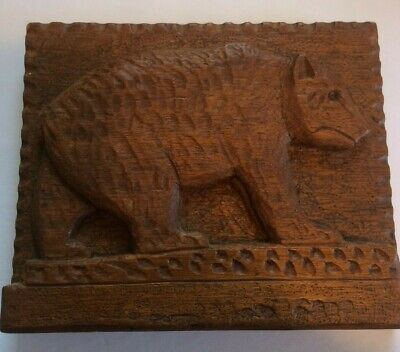 Hand Carved Grizzly Bear on Flat Wooden Hanging Board Signed