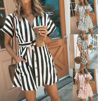 Women Clubwear Striped Lace Up Holiday Summer Mini Deep V Neck Beach Short Dress