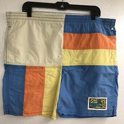 VTG HOBIE surfers paradise color block swim trunks shorts Sz L 80s surf beach 3