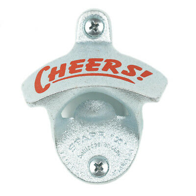 """New """"CHEERS"""" Wall Mounted Bottle Opener w/ Screws Zinc Plated Cast Iron Mancave"""
