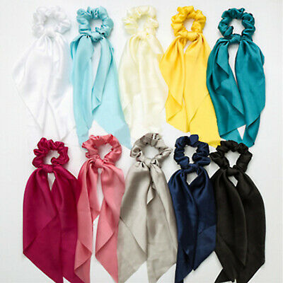 Elastic Ribbon Solid Hair Ties Rope Band Bow Scarf Ponytail Holder Scrunchie 1PC