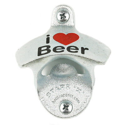 """New """"I ❤ Love Beer"""" Wall Mounted Bottle Opener w/ Screws Zinc Plated Cast Iron"""