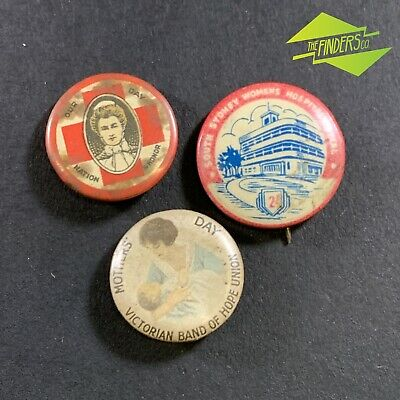 LOT x3 VINTAGE 1940's/50's MOTHERS DAY SOUTH SYDNEY HOSPITAL NURSES DAY BADGES