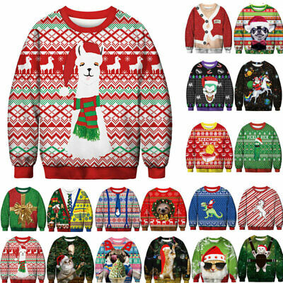 Ugly Christmas Sweater Santa Women Men Xmas Jumper Sweatshirt Tops Jumper M-2XL