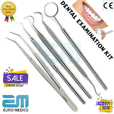 Dental Tooth Cleaning Kit Dentist Scraper Probes Tool Tweezers Mirror Scaler Set