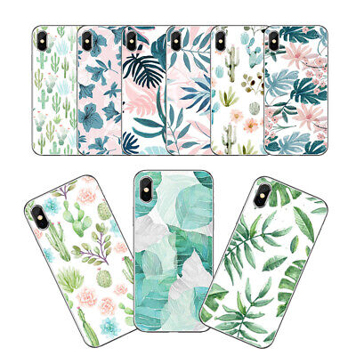 For iPhone 7/8 XR X XS Hard Matte Plant Floral Phone Case Cover Shockproof Charm